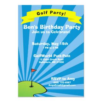 Golfing Themed Birthday Party Invitation
