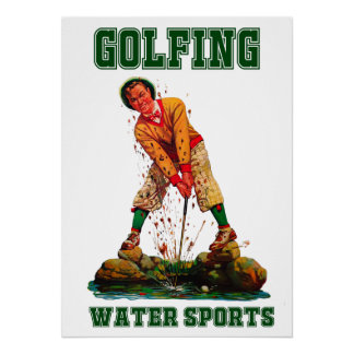 Golfing Water Sports - Poster Print