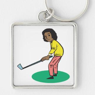 Golfista afroamericano de la mujer llaveros personalizados