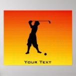 Golfista amarillo-naranja del vintage impresiones