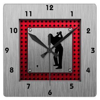 Golfista de aluminio cepillado de la mirada reloj de pared