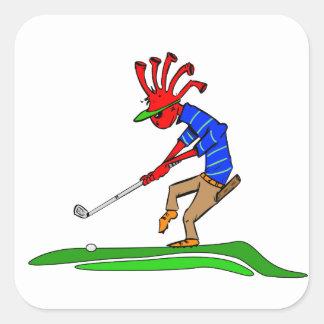 Golfista de Kokopelli Pegatina Cuadrada