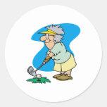 Golfista de la abuelita pegatina