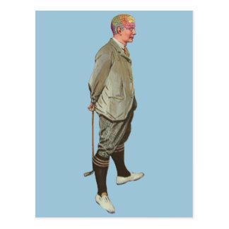 Golfista de la cabeza de la frenología del vintage postal