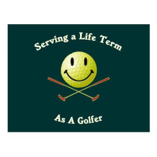 Golfista de la cadena perpetua tarjetas postales