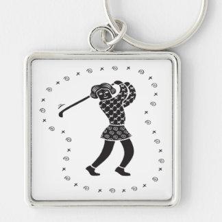 Golfista de la mujer llaveros