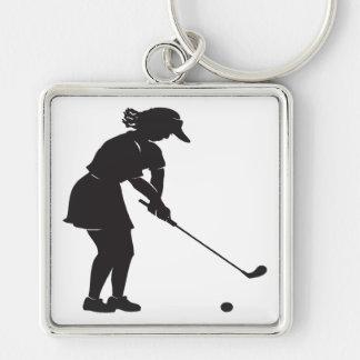 Golfista de la mujer llaveros personalizados