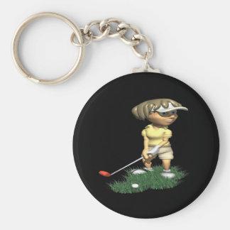 Golfista de la mujer llavero