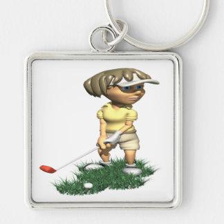 Golfista de la mujer llavero cuadrado plateado