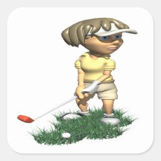Golfista de la mujer pegatina cuadrada