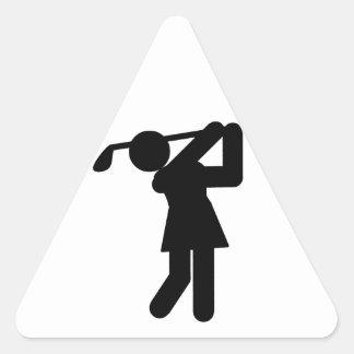 Golfista de la mujer - símbolo Golfing Calcomania De Triangulo Personalizadas