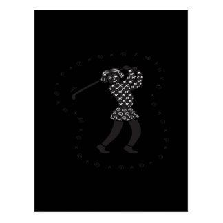 Golfista de la mujer postales