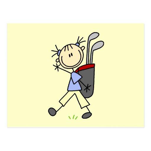 Golfista del chica con el bolso y clubs tarjetas postales