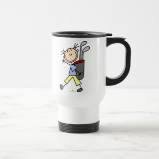 Golfista del chica con el bolso y clubs tazas de café