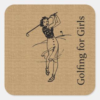 Golfista del chica del vintage en la falsa pegatina cuadrada