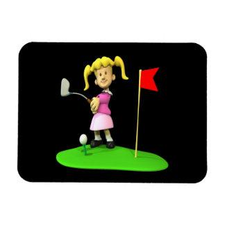 Golfista del chica imán foto rectangular