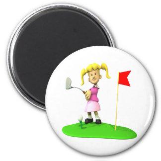 Golfista del chica imán redondo 5 cm