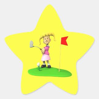Golfista del chica pegatina en forma de estrella