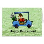 Golfista del dibujo animado en tarjeta del retiro