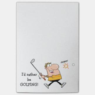 Golfista del dibujo animado notas post-it®