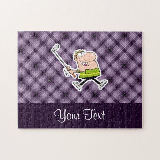 Golfista del dibujo animado; Púrpura Puzzle