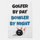 Golfista del jugador de bolos toalla de cocina