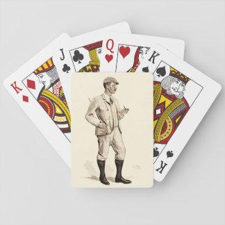 Golfista del vintage con el tubo y las botas de barajas de cartas