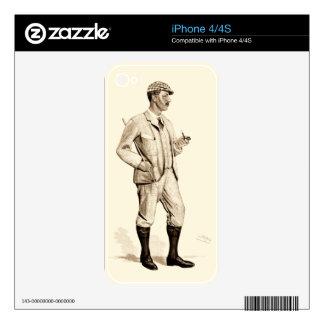 Golfista del vintage con el tubo y las botas de calcomanía para iPhone 4