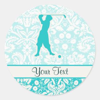 Golfista del vintage del trullo pegatina redonda