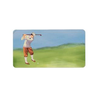 Golfista del vintage por el Riverbank Etiquetas De Dirección
