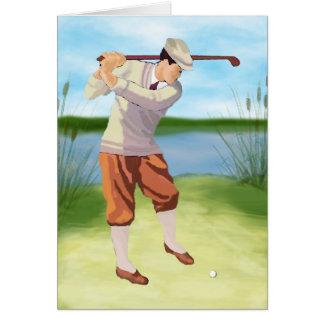 Golfista del vintage por el Riverbank Tarjeta De Felicitación