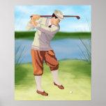 Golfista del vintage por la impresión archival del impresiones