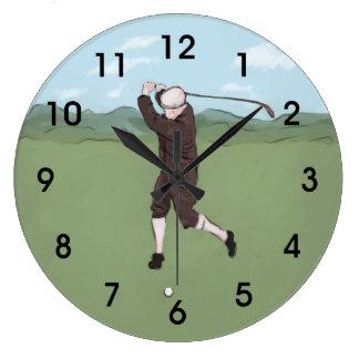 Golfista dibujado y pintado de la mano reloj redondo grande