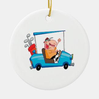 golfista divertido en carro de golf adorno navideño redondo de cerámica