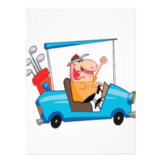 golfista divertido en carro de golf comunicados personalizados