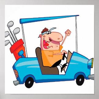 golfista divertido en carro de golf póster