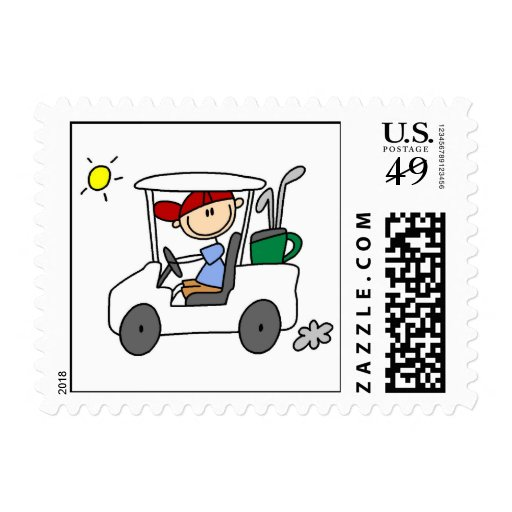 Golfista en carro de golf estampillas