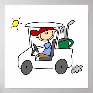 Golfista en carro de golf impresiones