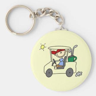 Golfista en carro de golf llavero redondo tipo pin