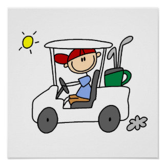 Golfista en carro de golf póster