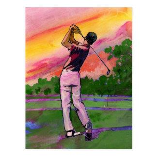 Golfista en el campo postales