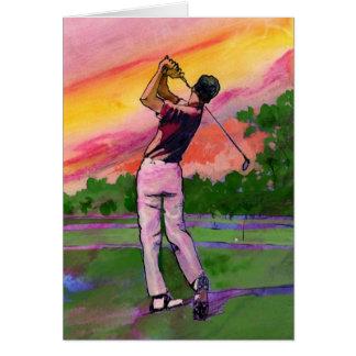 Golfista en el campo tarjeta de felicitación