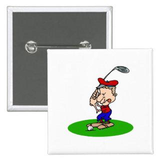 Golfista enojado pin cuadrada 5 cm