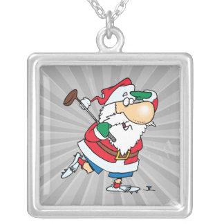 golfista golfing Papá Noel del dibujo animado dive Colgante Cuadrado