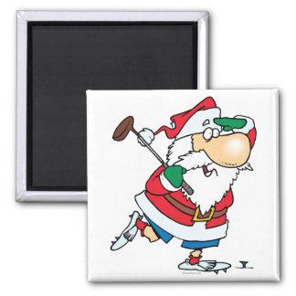 golfista golfing Papá Noel del dibujo animado dive Imán Cuadrado