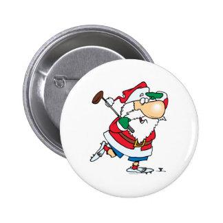 golfista golfing Papá Noel del dibujo animado dive Pin Redondo De 2 Pulgadas