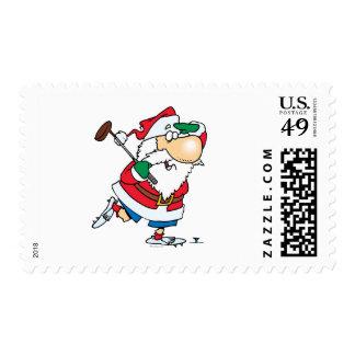 golfista golfing Papá Noel del dibujo animado Sellos Postales