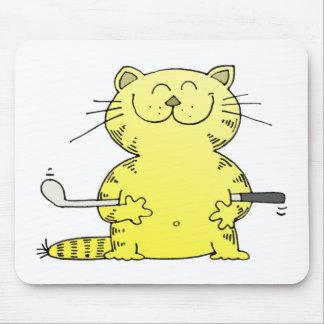 Golfista lindo del gatito alfombrillas de ratón