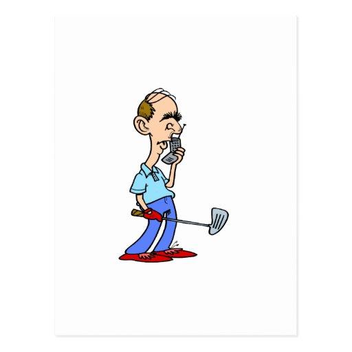 Golfista ocupado tarjeta postal
