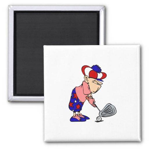 Golfista patriótico iman de frigorífico